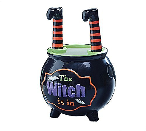 Halloween Caldron Bowl with Witch Leg (Halloween Candy Bowl Message)