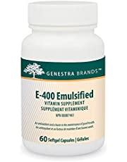 Genestra Brands - E-400 Emulsified - Naturally Emulsified Vitamin E - 60 Softgel Capsules