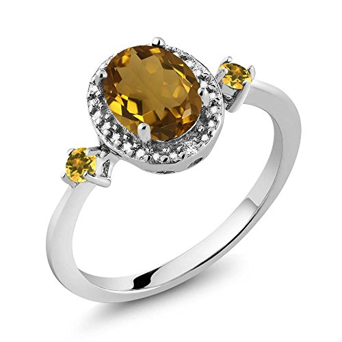 Gem Stone King Oval Quartz and Simulated Citrine 925 Sterling Silver Ring With Accent Diamond