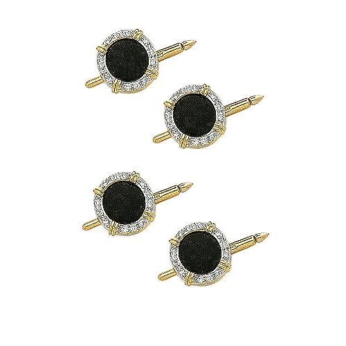 14K Yellow Gold Diamond And Onyx Shirt Stud Set-89288