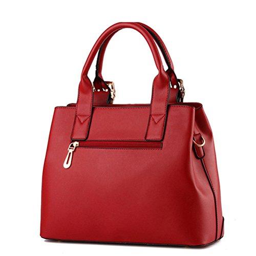 Honeymall Damen Faux Leder Shell Stil Handtaschen Große Frauen Schultertaschen(Gelb) Pink