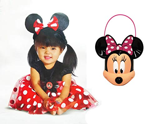 Halloween Costume Minnie Mouse and Figural Plastic Trick Treat Bucket 12-18 Months for $<!--$42.99-->