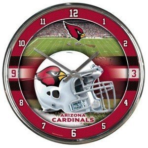 Arizona Cardinals Round Chrome Wall Clock - Licensed NFL Gift - Arizona Cardinals Collectible from Sports Collectibles