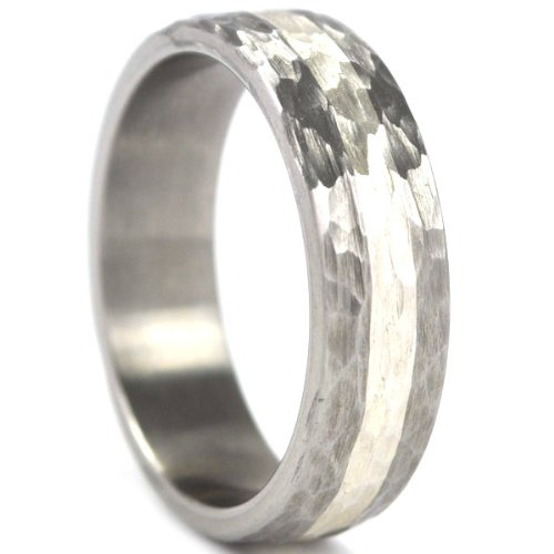6 mm Titanium Ring with a Sterling Silver Inlay and a Hammered Finish by Unknown