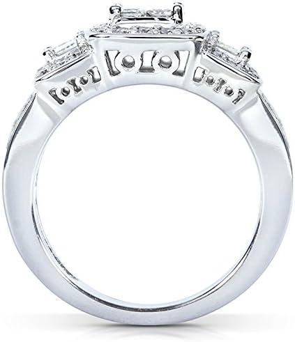 ctw in 14k White Gold Kobelli Princess Diamond Wedding Ring Set 1 1//6 carat
