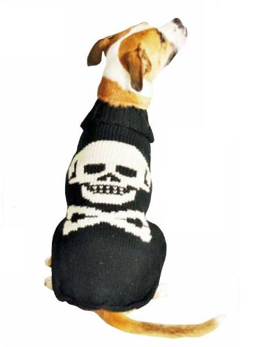 Chilly Dog Black Skull Dog Sweater, Small by Chilly Dog