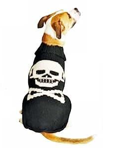 Chilly Dog Black Skull Dog Sweater, Medium