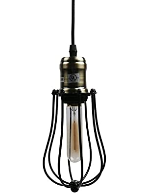 Industrial Pendant Light Ivalue Vintage Hanging Wire Cage Pendant Light Fixture Plug in Indoor Mini Hanging Light for Kitchen Bar Edson Bulb Included