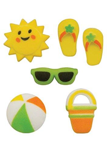 Summer Fun Assortment Beach Ball Pail Sun Flip Flops Sunglasses Decorations Sugar Topper Birthday Party Celebrate Cup Cake Cake Cookie toppers - Sunglasses Sugar &