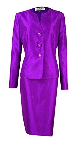 Le Suit Women's Shantung Pleated Collar Skirt Suit (4, Amethyst) by Le Suit (Image #1)