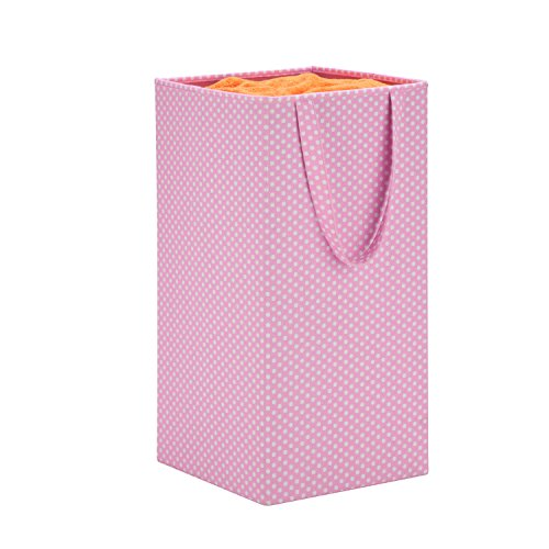 Honey-Can-Do HMP-06314 Collapsible Square Laundry Hamper with Polka Dots, Pink