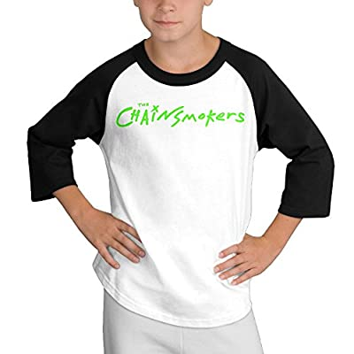 Gary Young Boy The Chainsmokers Logo Round Collar Raglan T-shirt Black