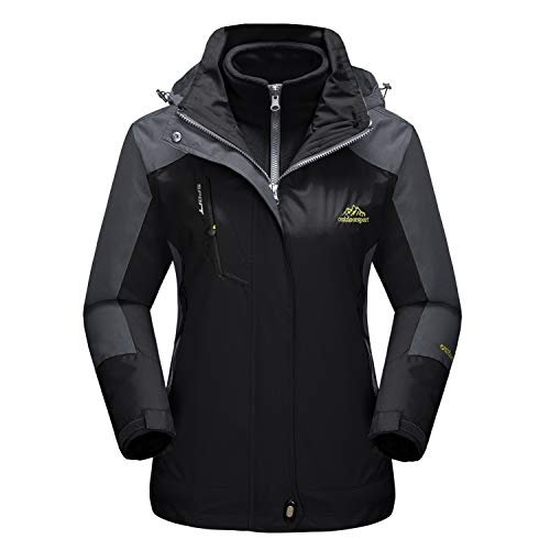 Snowboard Jacket Hood (MAGCOMSEN Windproof Jacket Women Softshell Rain Coat Tactical Jacket Snowboard Skiing Jacket with Hood Black)