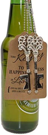 DerBlue 60 PCS Key Bottle Openers,Vintage Skeleton Key Bottle Opener,Skeleton Key Bottle Openers Wedding Favors Antique Rustic Decoration with Heart shaped kraft paper label card Silver-4