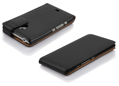 Cadorabo - Funda Flip Style para Sony Xperia T de Cuero Sintético - Etui Case Cover Carcasa Caja Protección en NEGRO-ÓXIDO NEGRO-ÓXIDO