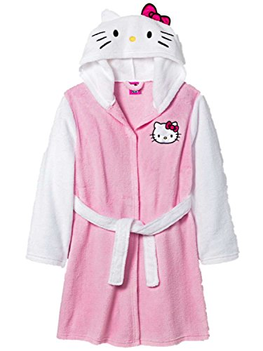 Girls Hello Kitty Pink and White Plush Bath Robe (Sizes 4-16) (Small) (Shower Kitty Wrap Hello)