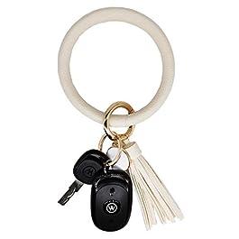 AnnabelZ Keychain Bracelet Wristlet Bangle Key Holder Round Keyring Leather Tassel Key Ring Chain fo