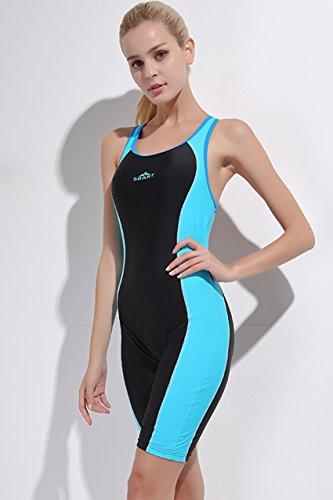 Wählen Sie für offizielle mehrere farben ausgereifte Technologien Labelar Badeanzug mit Bein Damen Sportbadeanzug Schwimmanzug Bademode  Einteilig Beinen Knielang Wassersport Anzu