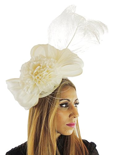Silk Sinamay & Silk Flower Elegant Ladies Ascot Wedding Fascinator Hat Cream by Hats By Cressida