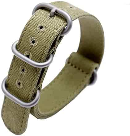 9450bc0a9 22mm Rugged Army Green Stitched Canvas Watch Strap for Men and Women NATO  Straps Cotton Canvas