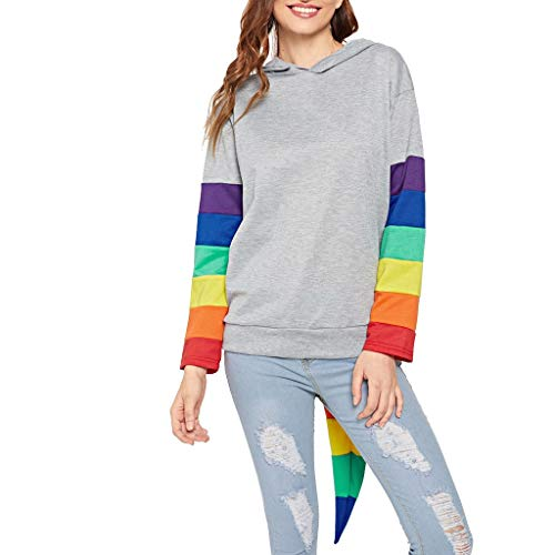 COM1950s Women's Tops Long Sleeve O Neck Rainbow Stripe Stitching Hooded Sweater Casual Blouse Tops Pullover Sweatshirt