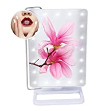 LED Lighted Beauty Cosmetic Mirror with Small Round 10x Magnifying Spot Smart Touch Screen Makeup Mirror with Light(20 LED) Wall Mount Battery Power Supply – Adjustable Brightness (White)