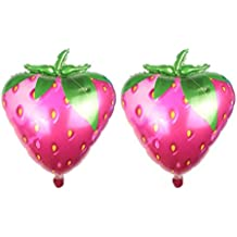 NUOLUX 2pcs 28 Inch Strawberry Foil Balloons Birthday Wedding Party Supplies Kids Toy Gifts