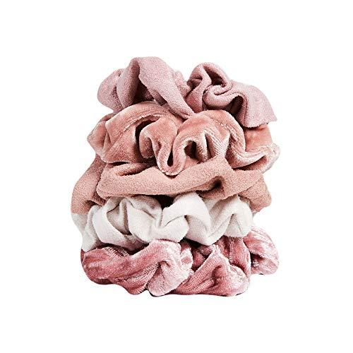 Price comparison product image Kitsch Velvet Hair Scrunchies,  Cute Suede-Look Scrunchies for Ponytails,  Top Knots,  Braids and Buns,  5 Count (Velvet Pastel / Blush / Mauve)