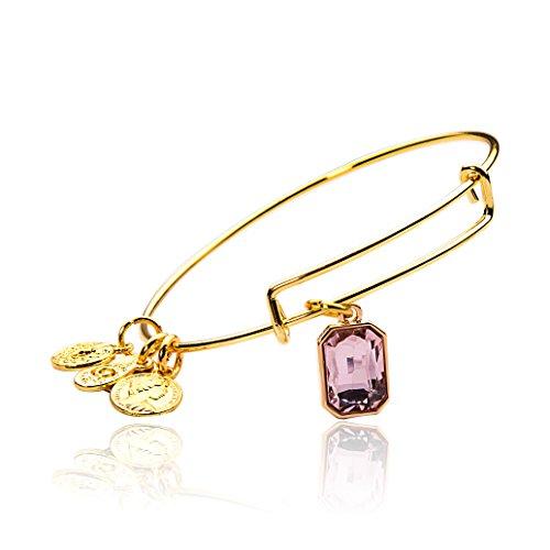 MBOX Expandable Gold Tone & Sliver Tone Birthstone Wire Bangle Bracelet (Gold Tone - Oblong Shape, June) Oblong Stone