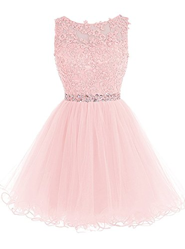 (WDING Short Tulle Homecoming Dresses Appliques Beads Prom Party Gown Pink,US8)