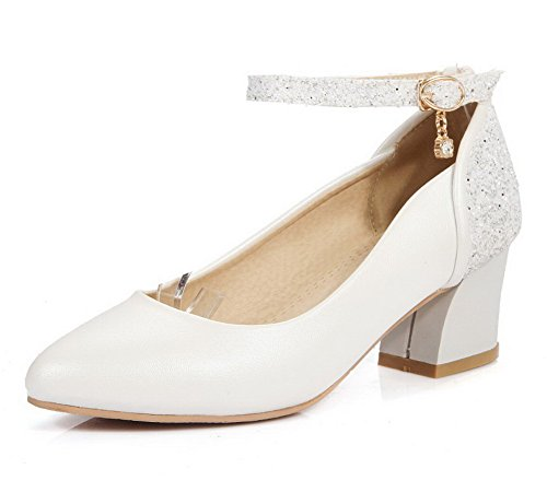 VogueZone009 Women's Buckle Pointed Closed Toe Kitten-Heels Blend Materials Solid Pumps-Shoes White zEgMjsCt