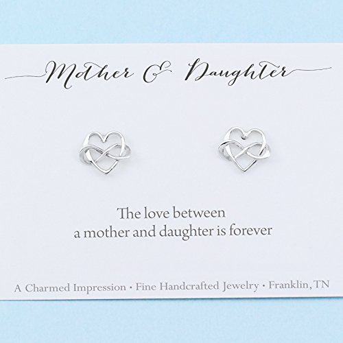 (Mother and Daughter Gift • Personalized Jewelry • Sterling Silver Infinity Heart Earrings • Infinite Love)