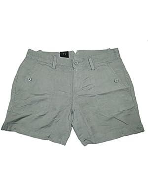 Womens Linen Short (12, Green Cargo)