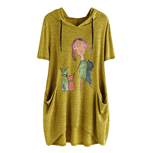 Sunmoot Clearance Sale Plus Size Blouse for Womens Hooded Tunic Girls Summer Casual Cartoon Print Cat Ear Graphic Short Sleeve Side Pockets T Shirt Tops