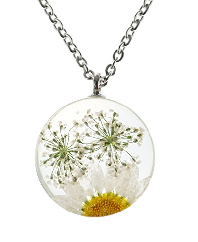 KingCow Handmade Eternal Dried Flower Necklace Glass Ball Pendant Accessories (Daisy - White)