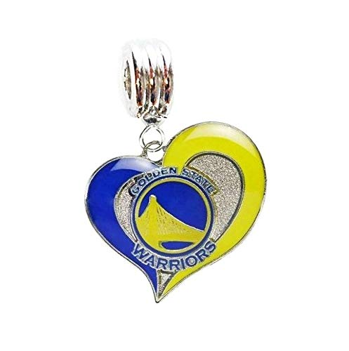 Heavens Jewelry Golden State Warriors Basketball Team Heart Charm Slide Pendant for Your Necklace European Charm Bracelet (Fits Most Name Brands) DIY Projects ETC -