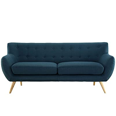 Modway Remark Mid-Century Modern Sofa With Upholstered Fabric In Azure - MID-CENTURY MODERN SOFA - Showcasing a warm contemporary look, Remark displays timeless intrigue and sophistication. Enhance your modern living room decor with this versatile mid-century couch LOUNGE SPOT - Make a statement in the living room, den, recreation area, family room or apartment with this inviting modern sofa with flared arms. Delve deep in both comfort and conversation INVITING DESIGN - Upholstered in quality polyester, Remark features padded cushions and button tufting that heighten your space. This modern sofa is perfect for mid-century and contemporary décor - sofas-couches, living-room-furniture, living-room - 41vT7CRV71L. SS400  -