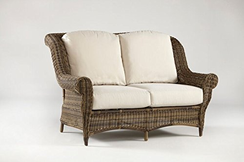 South Sea Rattan Providence Collection Loveseat with Cushions, Pool