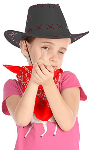 Cowboy Hat for Kids - Felt Cowboy Hats w/Paisley Bandana by Funny Party Hats Western Costume -
