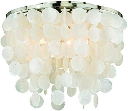 Elsa 16 In W Satin Nickel Capiz Shell Coastal Flush Mount Ceiling Light Fixture Amazon Com