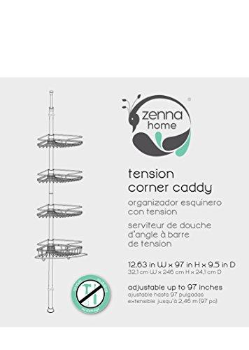 Zenna Home 2132HB, Tension Corner Pole Caddy, Oil Rubbed Bronze