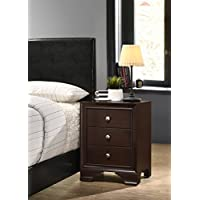 Roundhill Furniture B103EP Randers Wood Nightstand, 3-Drawer, Espresso