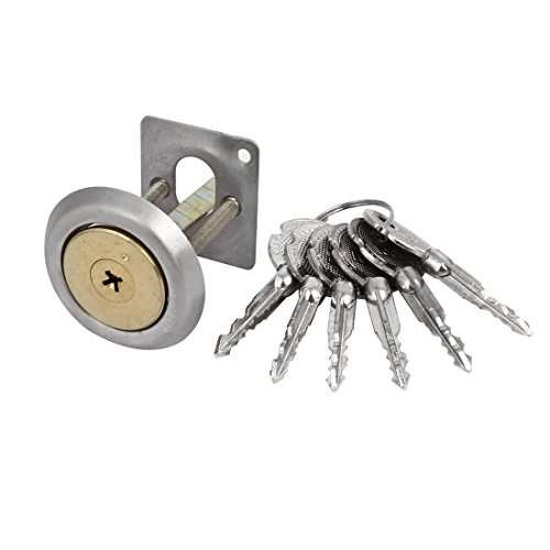- uxcell Home Office Deadbolt Rim Cylinder Cross Keyway Door Night Latch Lock Brass Tone
