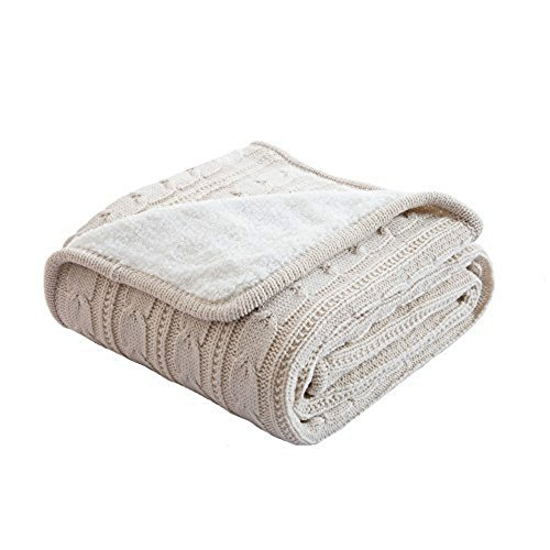 Warm Soft Cuddle Blanket Cotton Knitted Cashmere Like Throw Bed Sofa Chair Couch Blanket Bedspread Beige 120x180cm