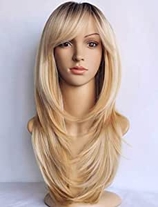 wigbuy Long Layered Shoulder Length Blonde Synthetic Hair Fiber Highlight Multicolor with Dark -root for Women (1B/27/613)