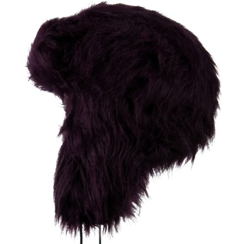 Woman's Faux Fur Pom Pom Trooper Hat - Purple OSFM