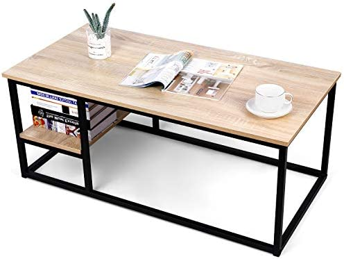 Coffee Table Living Room Table, Amzdeal Open Rectangle Center Table with Light Natural Color Wood Board, Black Metal Frame and Storage Space, Easy to Assemble, Easy to Move