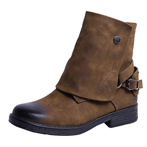 COPPEN Women Boots Vintage Round Toe Leather Zipper Square Heel Shoes ()