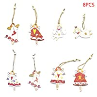 honuansortory 8pcs/Set Christmas Angel Girl Wooden Pendants Ornaments for Hanging Xmas Tree Party Decorations Kids Gift