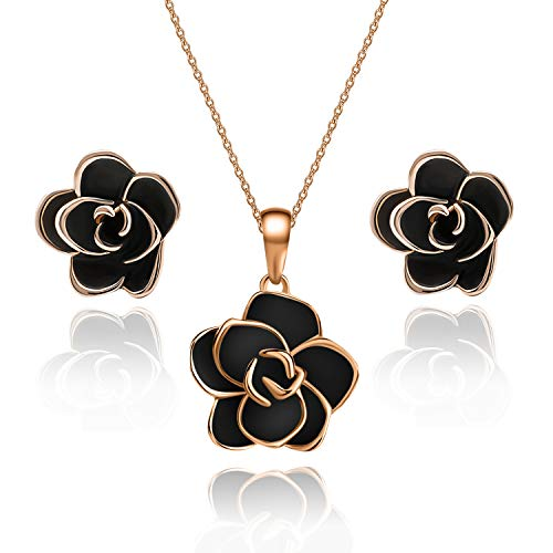 EVEVIC Rose Flower Necklace Earrings Set for Women Girls 18K Gold Plated Jewelry Sets (Black)